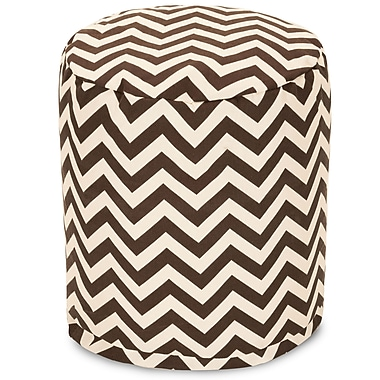 Majestic Home Goods Outdoor Polyester Chevron Small Pouf Ottoman, Chocolate