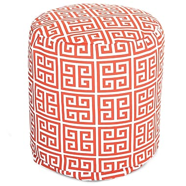 Majestic Home Goods Outdoor Polyester Towers Small Pouf Ottoman, Orange