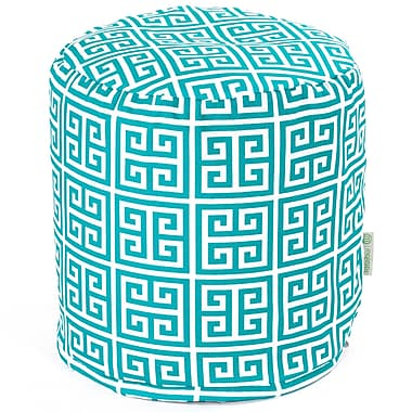 Majestic Home Goods Outdoor Polyester Towers Small Pouf Ottoman, Pacific
