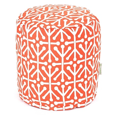 Majestic Home Goods Outdoor Polyester Aruba Small Pouf Ottoman, Orange