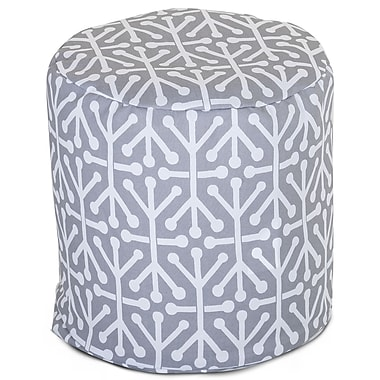 Majestic Home Goods Outdoor Polyester Aruba Small Pouf Ottoman, Gray