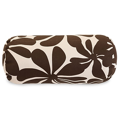 Majestic Home Goods Indoor/Outdoor Plantation Round Bolster Pillow, Chocolate