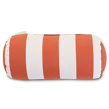 Majestic Home Goods Indoor/Outdoor Vertical Stripe Round Bolster Pillow, Burnt Orange
