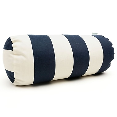 Majestic Home Goods Indoor/Outdoor Vertical Stripe Round Bolster Pillow, Navy Blue
