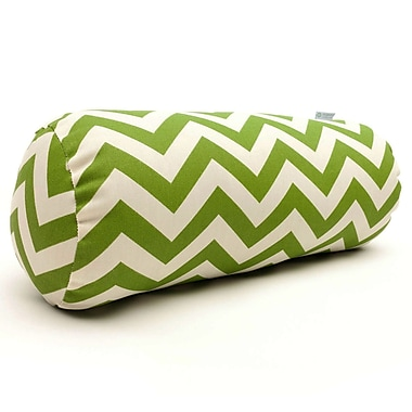 Majestic Home Goods Indoor/Outdoor Chevron Round Bolster Pillow, Sage