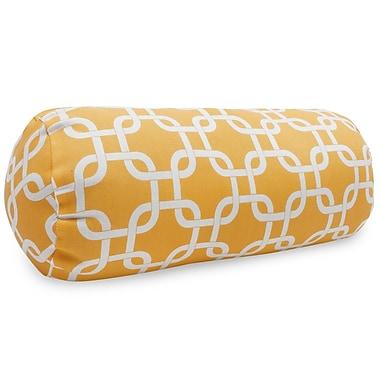 Majestic Home Goods Indoor/Outdoor Links Round Bolster Indoor/Outdoor Pillow, Yellow