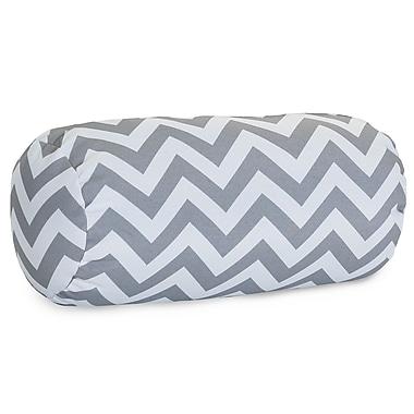 Majestic Home Goods Indoor/Outdoor Chevron Round Bolster Pillow, Gray