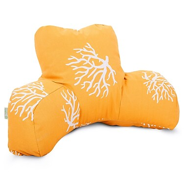 Majestic Home Goods Outdoor/Indoor Coral Reading Pillow, Yellow