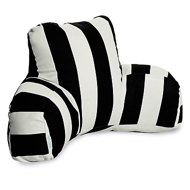 Majestic Home Goods Outdoor/Indoor Vertical Stripe Reading Pillow, Black