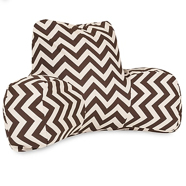 Majestic Home Goods Outdoor/Indoor Chevron Reading Pillow, Chocolate
