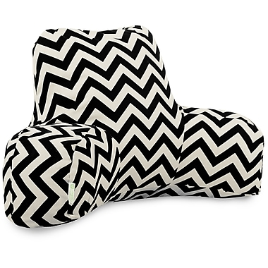 Majestic Home Goods Outdoor/Indoor Chevron Reading Pillow, Black