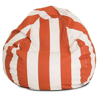 Majestic Home Goods Outdoor Vertical Stripe Polyester Small Classic Bean Bag Chair, Burnt Orange