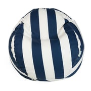 Majestic Home Goods Outdoor Vertical Stripe Polyester Small Classic Bean Bag Chair, Navy Blue