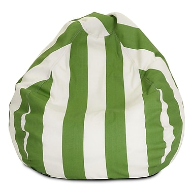 Majestic Home Goods Outdoor Vertical Stripe Polyester Small Classic Bean Bag Chair, Sage