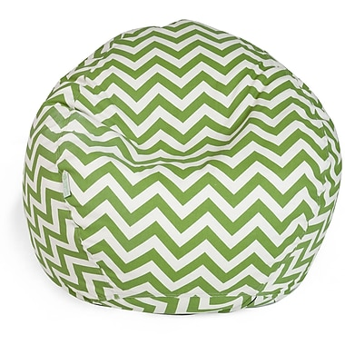 Majestic Home Goods Indoor/Outdoor Chevron Polyester Small Classic Bean Bag Chair, Sage