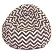 Majestic Home Goods Indoor/Outdoor Chevron Polyester Small Classic Bean Bag Chair, Chocolate