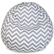 Majestic Home Goods Indoor/Outdoor Chevron Polyester Small Classic Bean Bag Chair, Gray