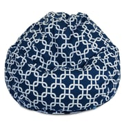 Majestic Home Goods Indoor/Outdoor Links Polyester Small Classic Bean Bag Chair, Navy Blue
