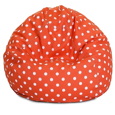 Majestic Home Goods Indoor/Outdoor Ikat Dot Polyester Small Classic Bean Bag Chair, Orange
