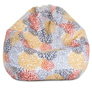 Majestic Home Goods Indoor/Outdoor Blooms Polyester Small Classic Bean Bag Chair, Citrus