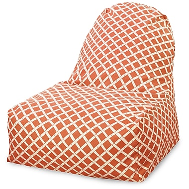 Majestic Home Goods Indoor/Outdoor Bamboo Polyester Kick-It Bean Bag Chair, Burnt Orange