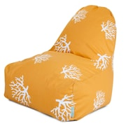 Majestic Home Goods Indoor/Outdoor Coral Polyester Kick-It Bean Bag Chair, Yellow