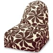 Majestic Home Goods Indoor/Outdoor Plantation Polyester Kick-It Bean Bag Chair, Chocolate