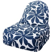 Majestic Home Goods Indoor/Outdoor Plantation Polyester Kick-It Bean Bag Chair, Navy Blue