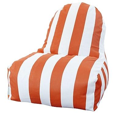 Majestic Home Goods Indoor/Outdoor Vertical Stripe Polyester Kick-It Bean Bag Chair, Burnt Orange