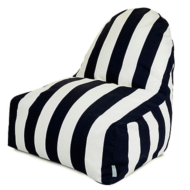 Majestic Home Goods Indoor/Outdoor Vertical Stripe Polyester Kick-It Bean Bag Chair, Black