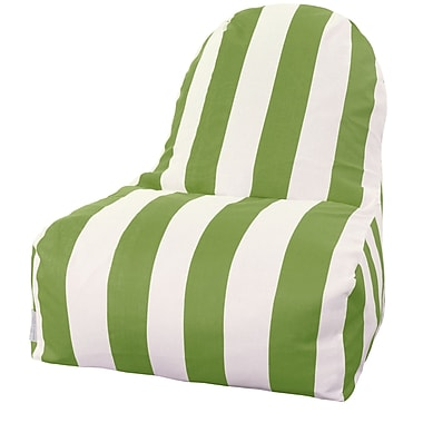 Majestic Home Goods Indoor/Outdoor Vertical Stripe Polyester Kick-It Bean Bag Chair, Sage