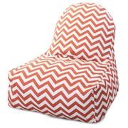 Majestic Home Goods Indoor/Outdoor Chevron Polyester Kick-It Bean Bag Chair, Burnt Orange