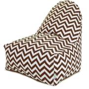 Majestic Home Goods Indoor/Outdoor Chevron Polyester Kick-It Bean Bag Chair, Chocolate