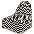 Majestic Home Goods Indoor/Outdoor Chevron Polyester Kick-It Bean Bag Chair, Black