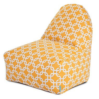 Majestic Home Goods Indoor/Outdoor Links Polyester Kick-It Bean Bag Chair, Yellow