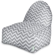 Majestic Home Goods Indoor/Outdoor Chevron Polyester Kick-It Bean Bag Chair, Gray