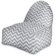 Majestic Home Goods Indoor/Outdoor Chevron Polyester Kick-It Bean Bag Chair, Gray