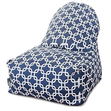 Majestic Home Goods Indoor/Outdoor Links Polyester Kick-It Bean Bag Chair, Navy Blue
