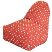 Majestic Home Goods Indoor/Outdoor Ikat Dot Polyester Kick-It Bean Bag Chair, Orange
