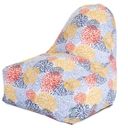 Majestic Home Goods Indoor/Outdoor Blooms Polyester Kick-It Bean Bag Chair, Citrus