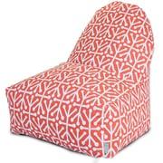 Majestic Home Goods Indoor/Outdoor Aruba Polyester Kick-It Bean Bag Chair, Orange