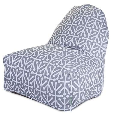 Majestic Home Goods Indoor/Outdoor Aruba Polyester Kick-It Bean Bag Chair, Gray