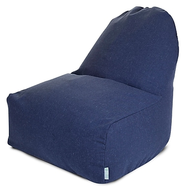 Majestic Home Goods Indoor Wales Cotton Duck/Twill Kick-It Bean Bag Chair, Navy