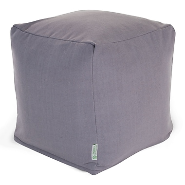 Majestic Home Goods Indoor Poly/Cotton Twill Wales Small Cube, Gray
