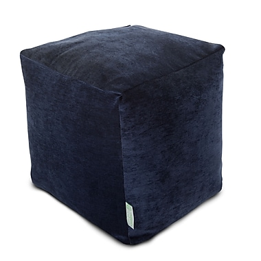 Majestic Home Goods Indoor Villa Polyester Micro-Velvet Small Cube, Navy