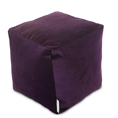 Majestic Home Goods Indoor Villa Polyester Micro-Velvet Small Cube, Aubergine