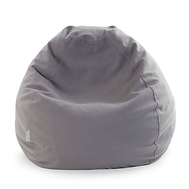 Majestic Home Goods Indoor Wales Polyester/Linen Small Classic Bean Bag Chair, Gray
