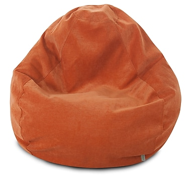 Majestic Home Goods Indoor Polyester Micro-Velvet Bean Bag Chair, Orange (85907264024)