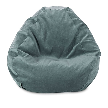 Majestic Home Goods Indoor Polyester Micro-Velvet Bean Bag Chair, Azure (85907264027)