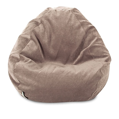 Majestic Home Goods Indoor Polyester Micro-Velvet Bean Bag Chair, Pearl (85907264029)